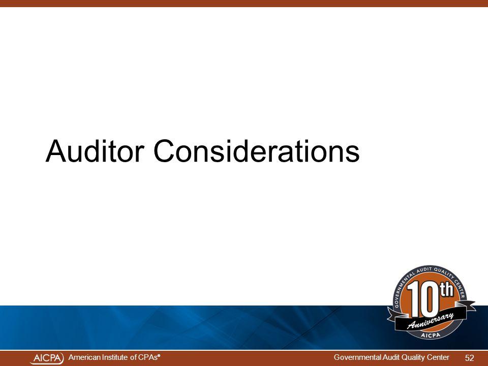 Auditor Considerations