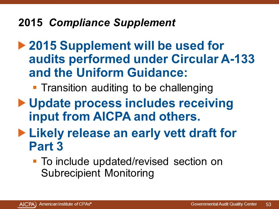 2015 Compliance Supplement