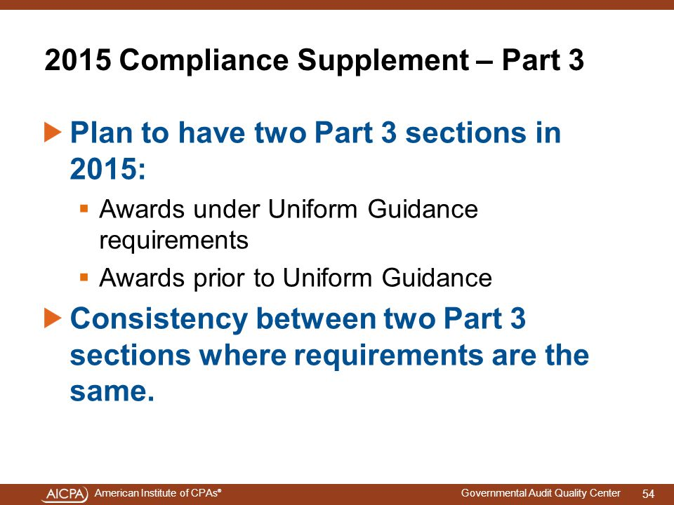 2015 Compliance Supplement – Part 3