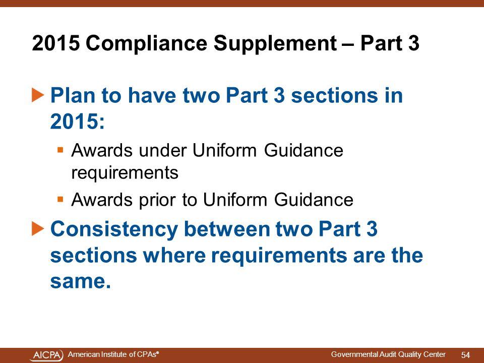 2015 Compliance Supplement – Part 3