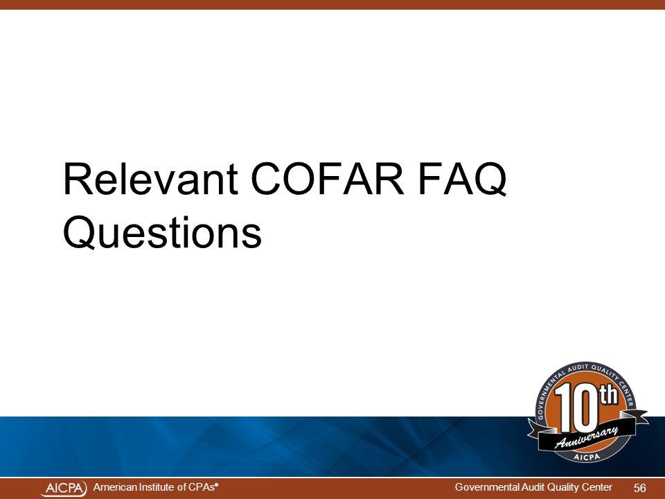Relevant COFAR FAQ Questions