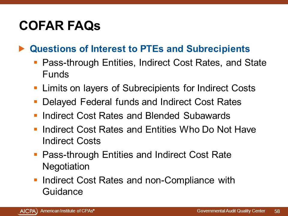 COFAR FAQs Questions of Interest to PTEs and Subrecipients