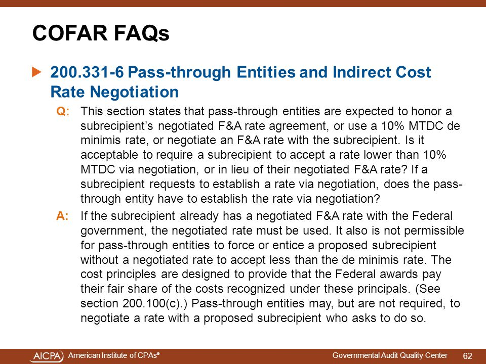4/15/2017 COFAR FAQs. 200.331-6 Pass-through Entities and Indirect Cost Rate Negotiation.