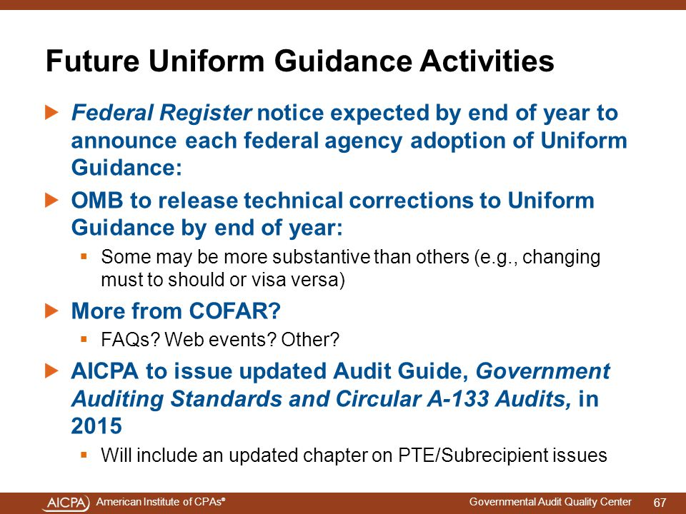 Future Uniform Guidance Activities