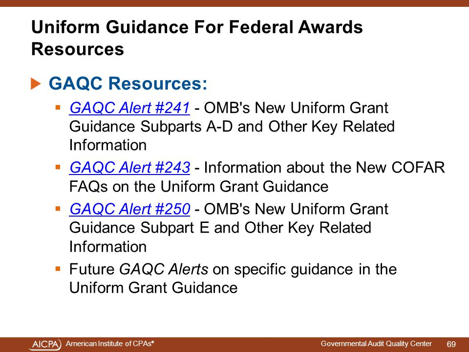 Uniform Guidance For Federal Awards Resources