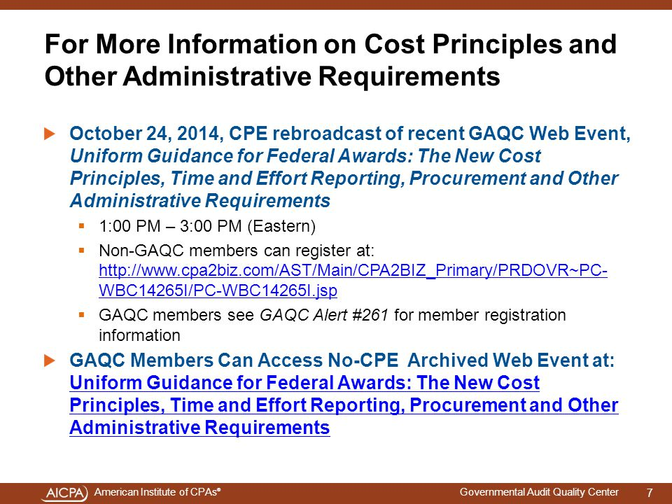 4/15/2017 For More Information on Cost Principles and Other Administrative Requirements.