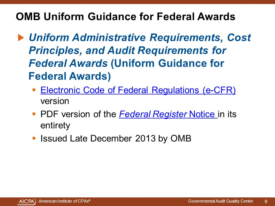 OMB Uniform Guidance for Federal Awards