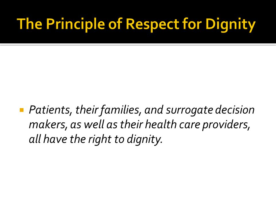 The Principle of Respect for Dignity