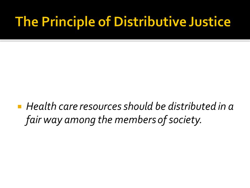 The Principle of Distributive Justice