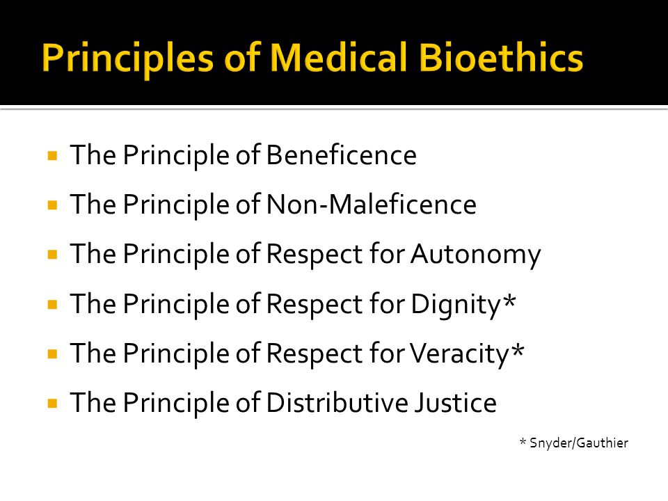 Principles of Medical Bioethics