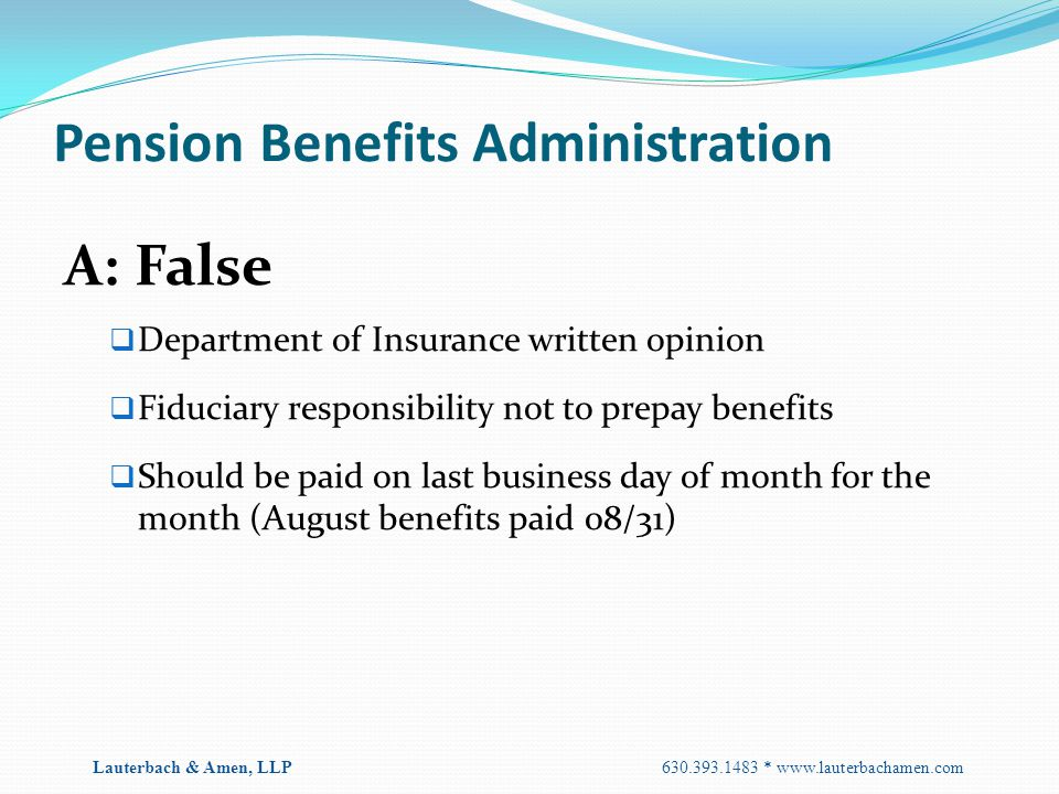 Pension Benefits Administration