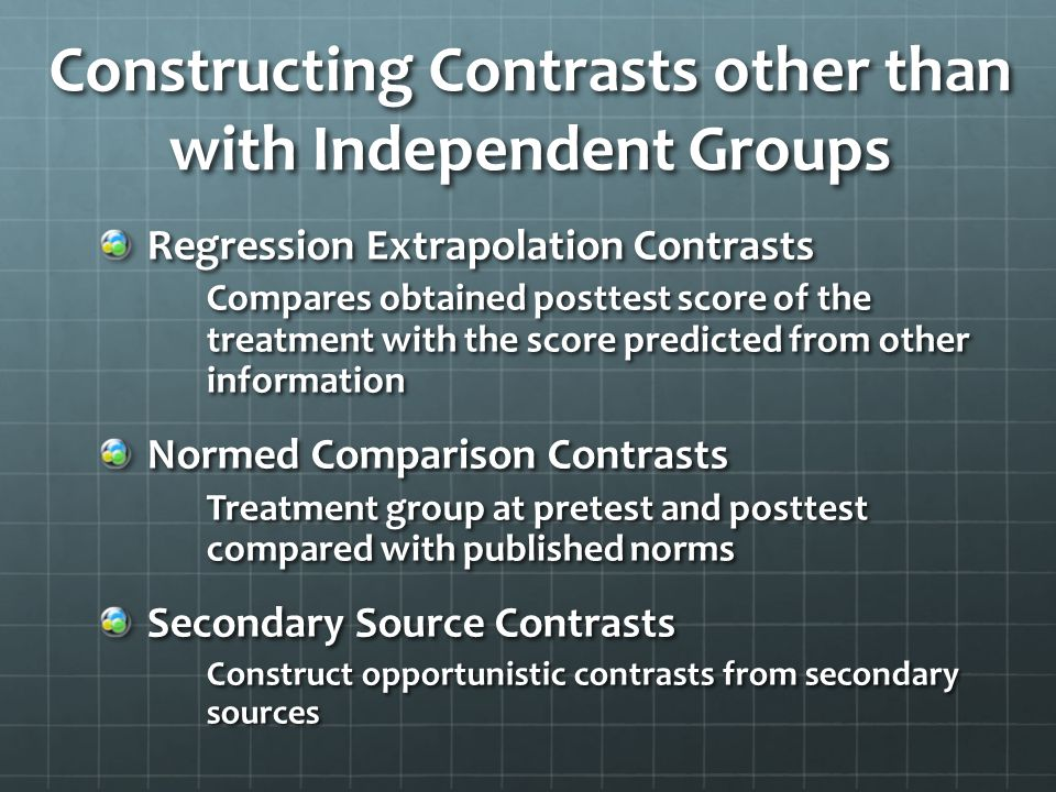 Constructing Contrasts other than with Independent Groups