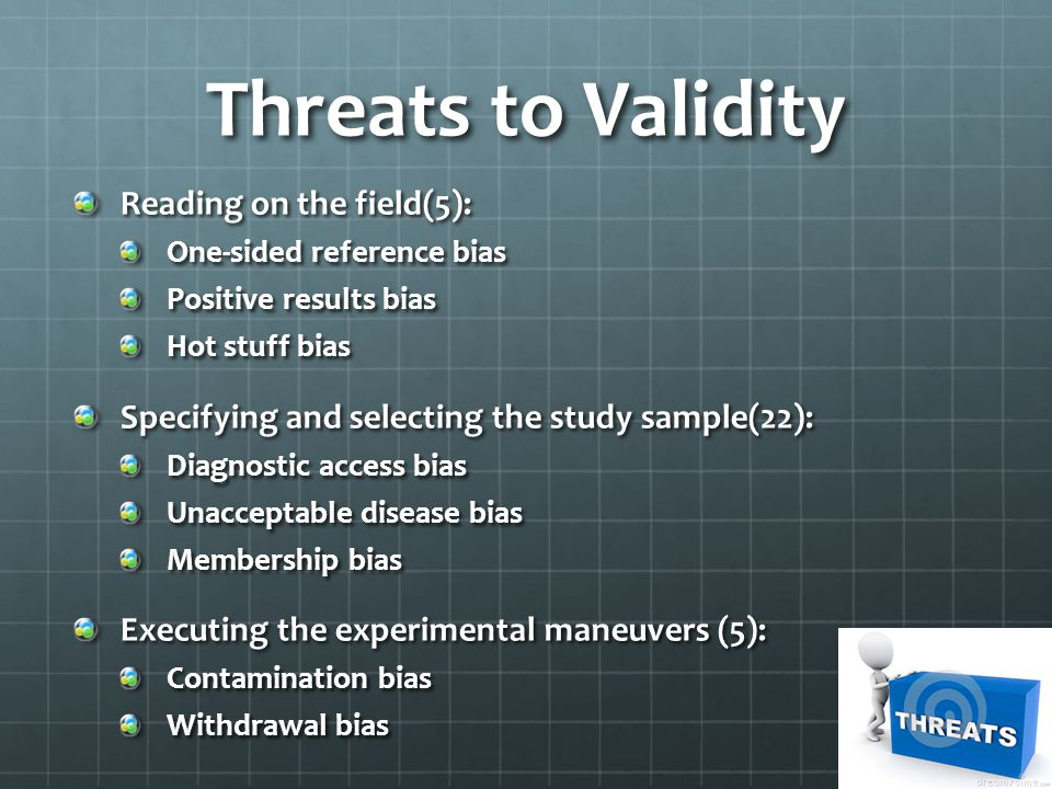 Threats to Validity Reading on the field(5):