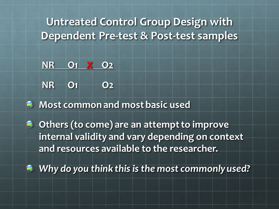 Untreated Control Group Design with Dependent Pre-test & Post-test samples