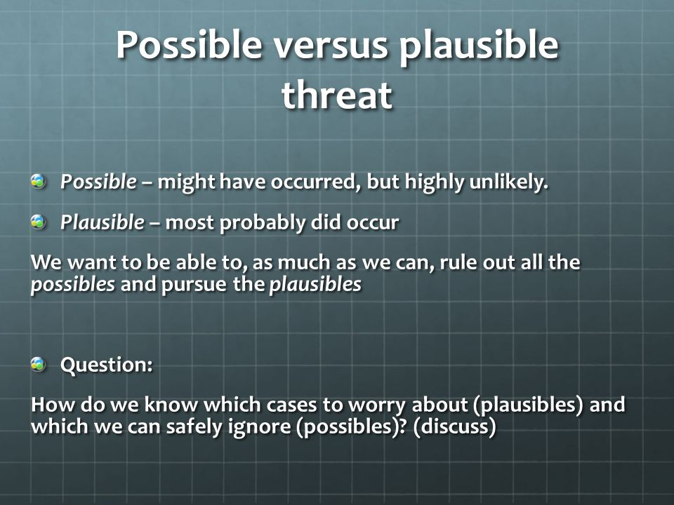 Possible versus plausible threat