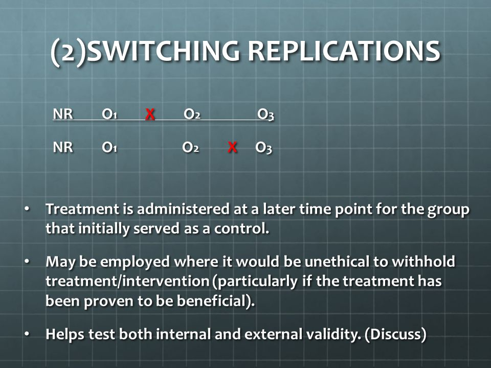 (2)SWITCHING REPLICATIONS