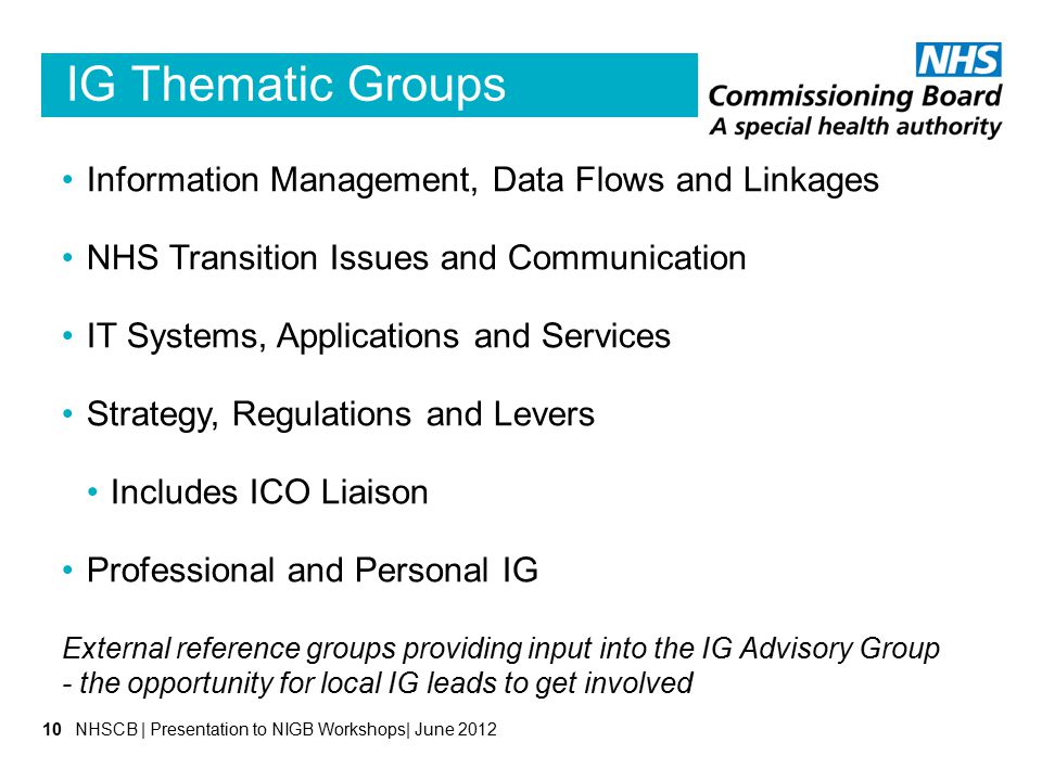 IG Thematic Groups Information Management, Data Flows and Linkages