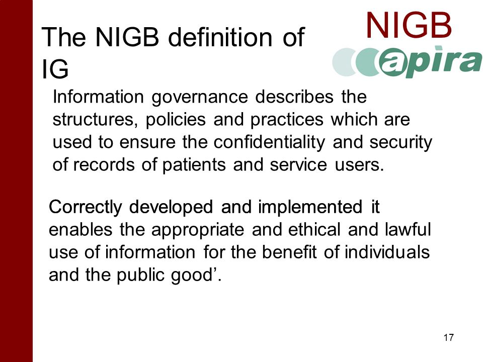 The NIGB definition of IG