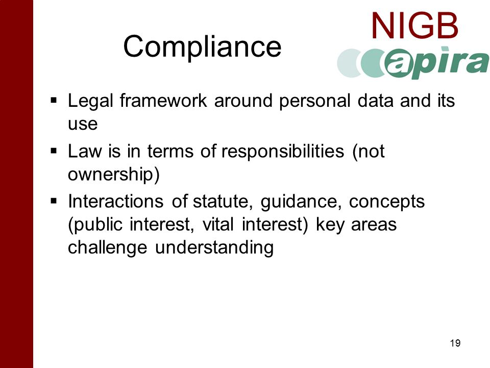 Compliance Legal framework around personal data and its use