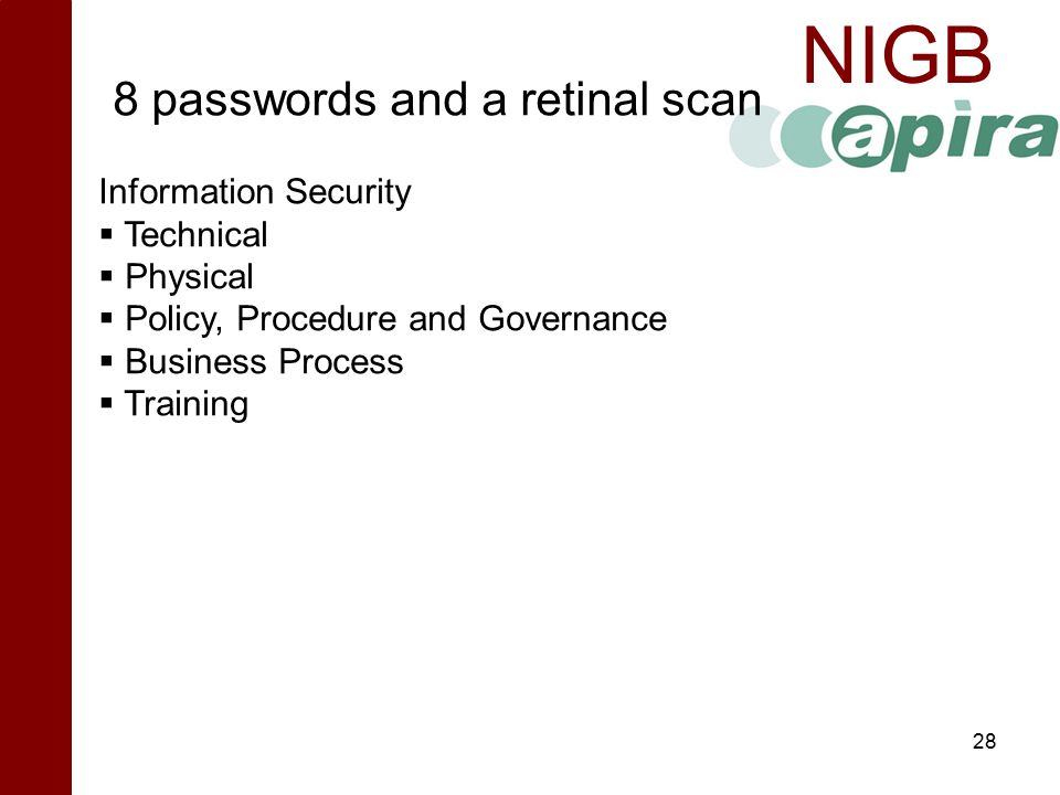 8 passwords and a retinal scan