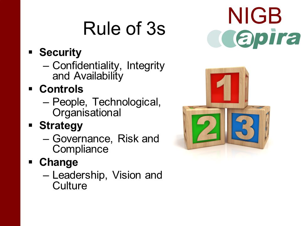Rule of 3s Security Confidentiality, Integrity and Availability