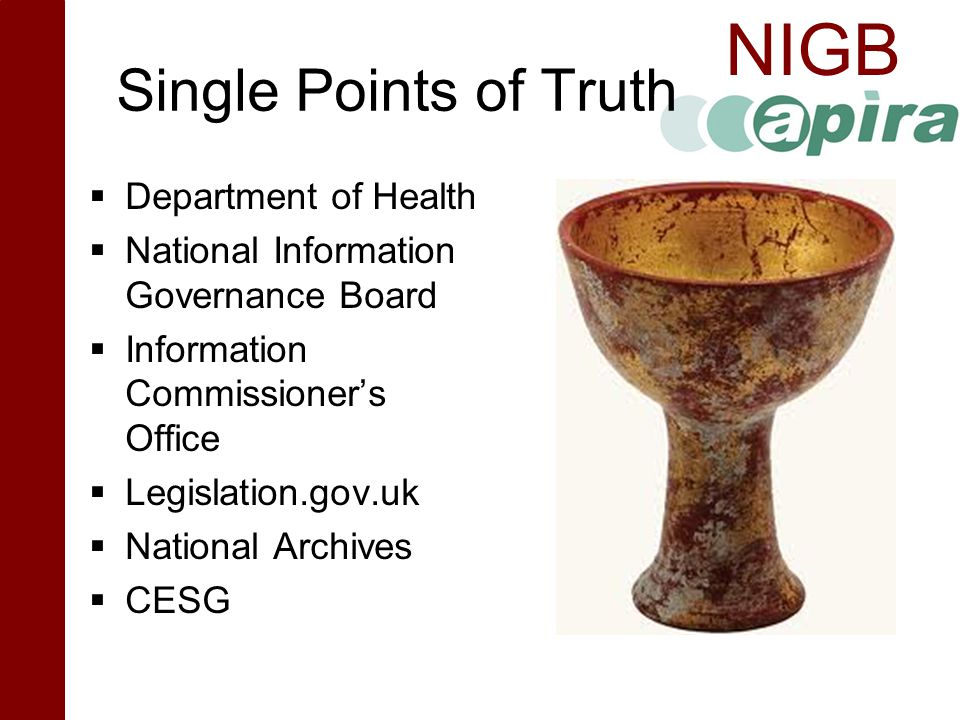 Single Points of Truth Department of Health