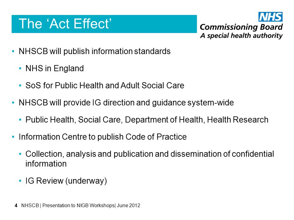 The 'Act Effect' NHSCB will publish information standards