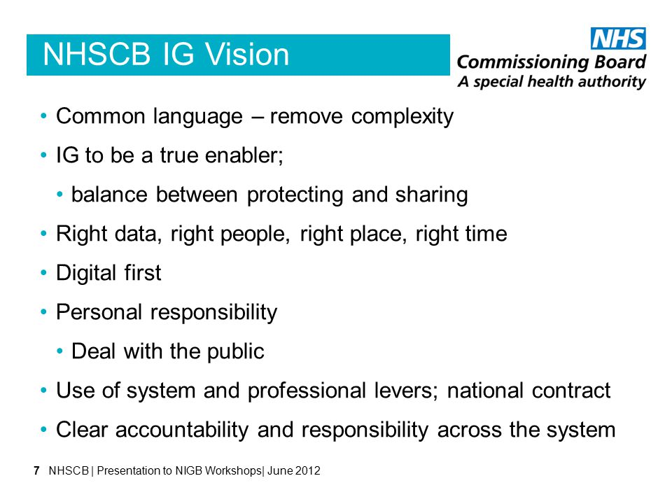 NHSCB IG Vision Common language – remove complexity