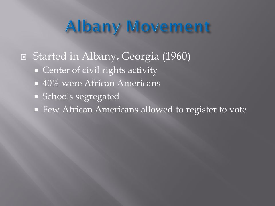 Albany Movement Started in Albany, Georgia (1960)
