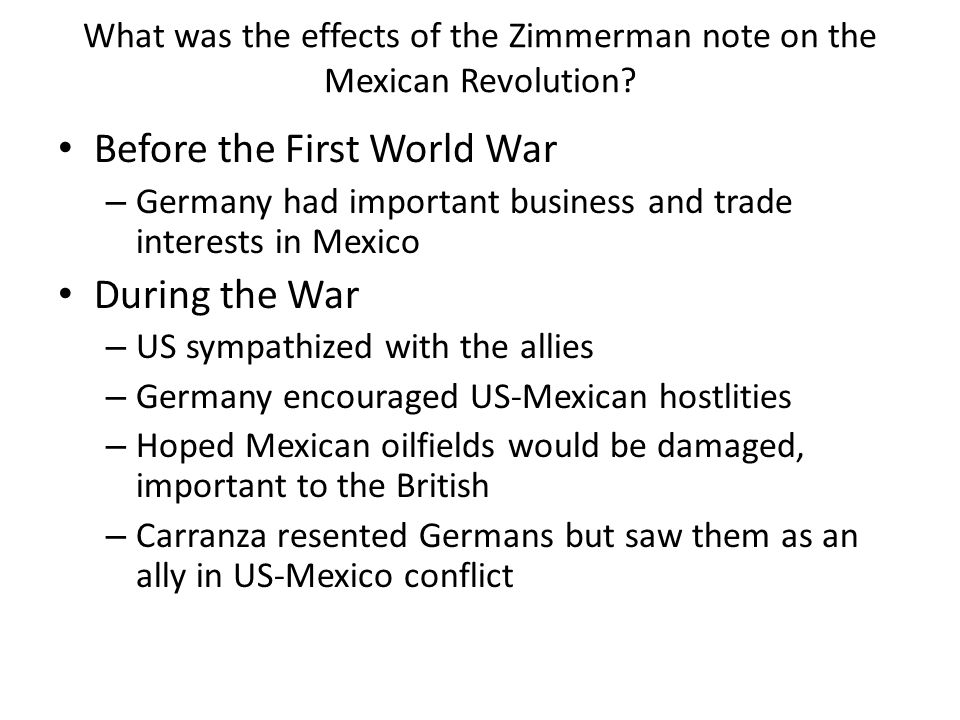 What was the effects of the Zimmerman note on the Mexican Revolution