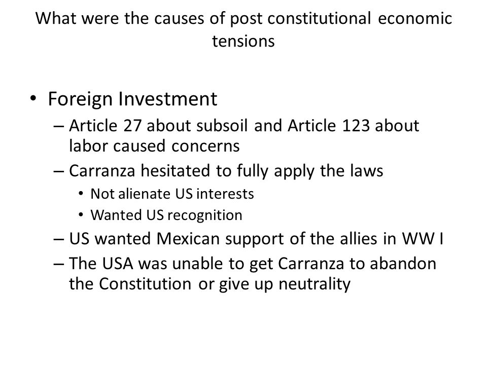 What were the causes of post constitutional economic tensions