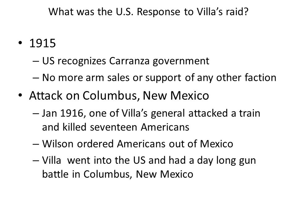 What was the U.S. Response to Villa's raid