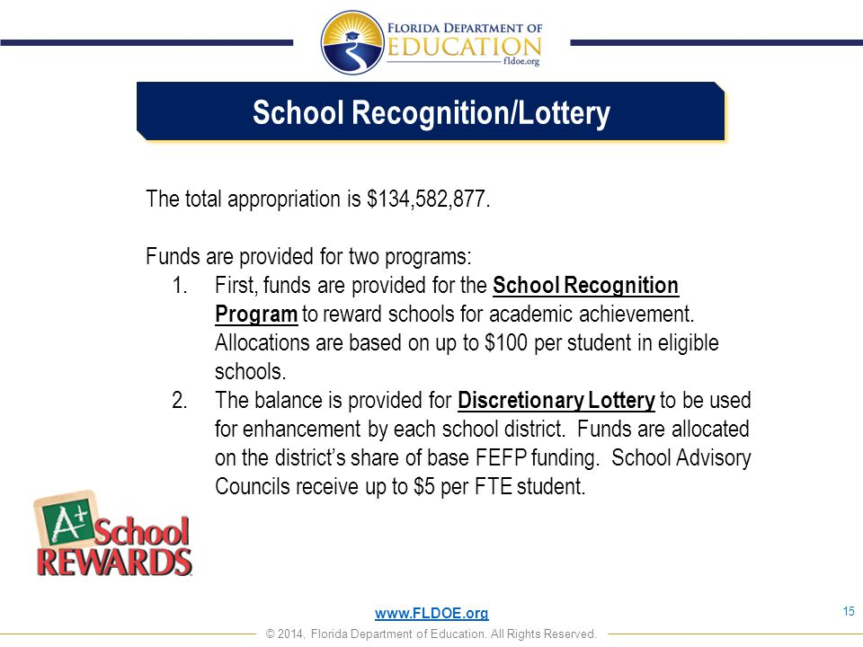 School Recognition/Lottery