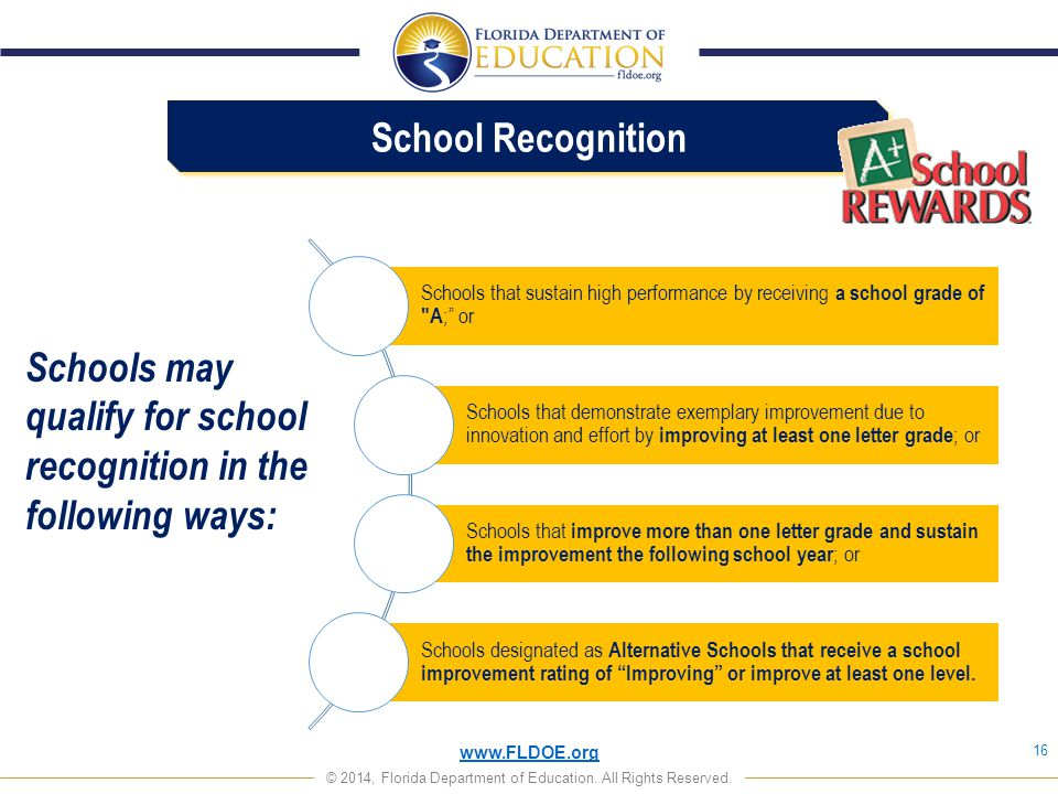 Schools may qualify for school recognition in the following ways: