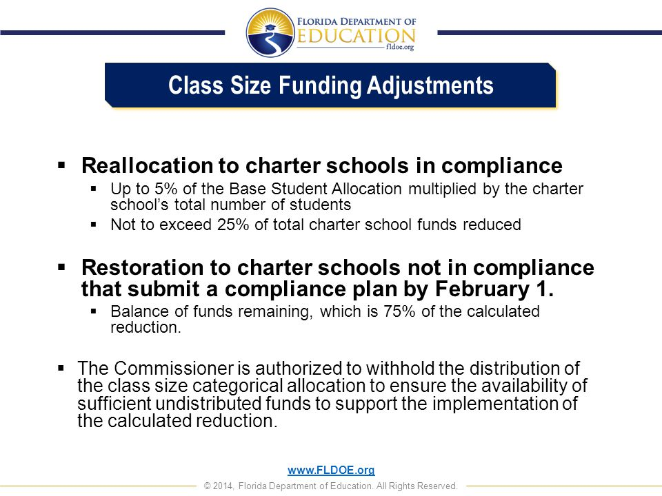 Class Size Funding Adjustments