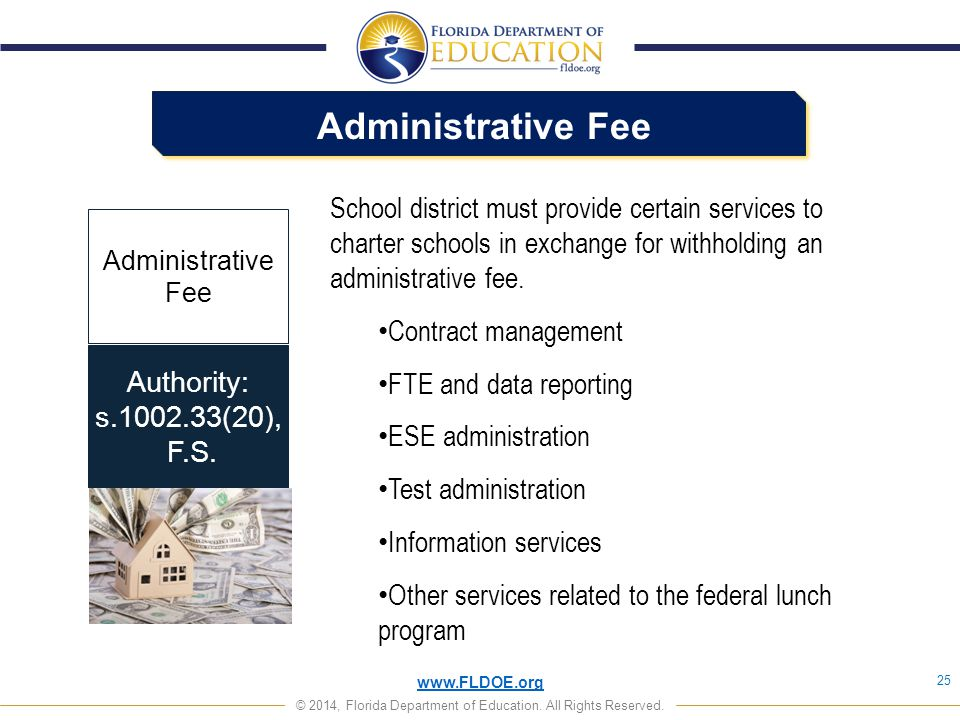Administrative Fee School district must provide certain services to charter schools in exchange for withholding an administrative fee.