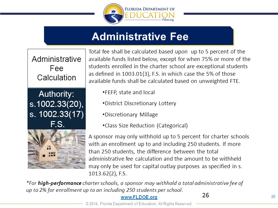 Administrative Fee Authority: s.1002.33(20), s. 1002.33(17) F.S.