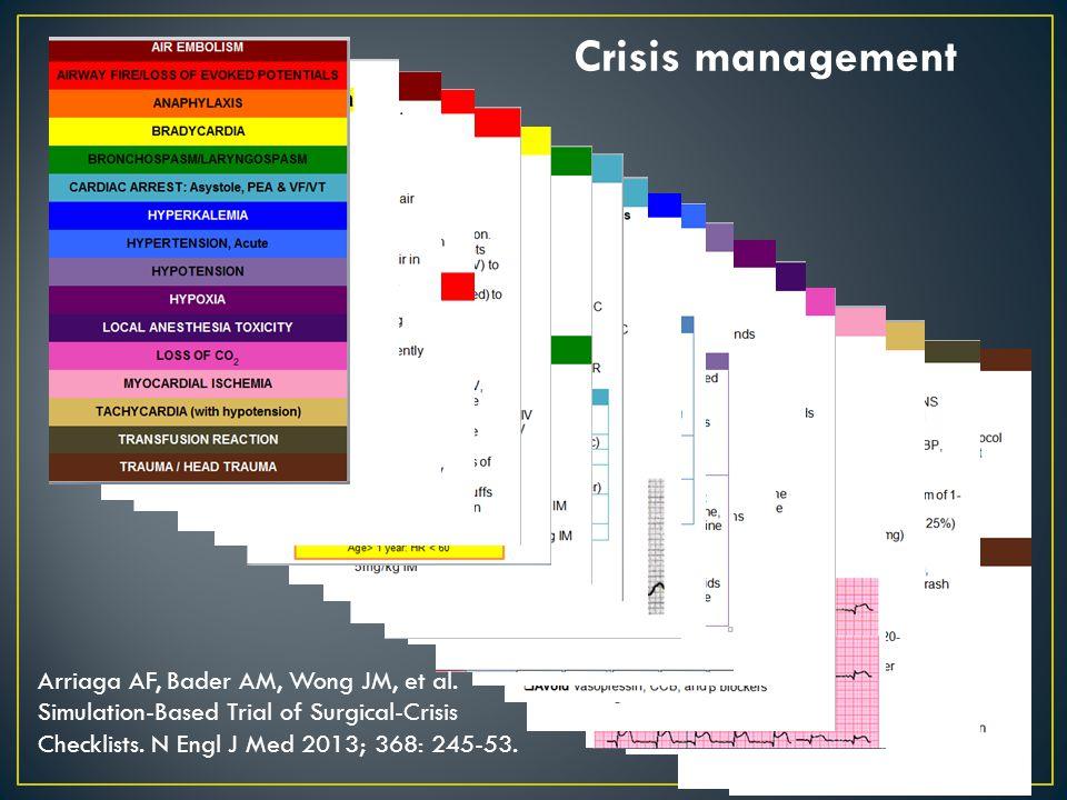 Crisis management Arriaga AF, Bader AM, Wong JM, et al.
