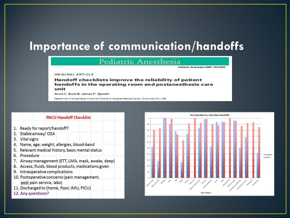 Importance of communication/handoffs
