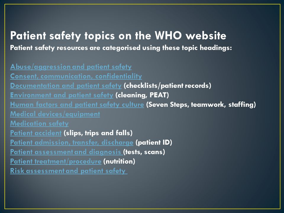 Patient safety topics on the WHO website