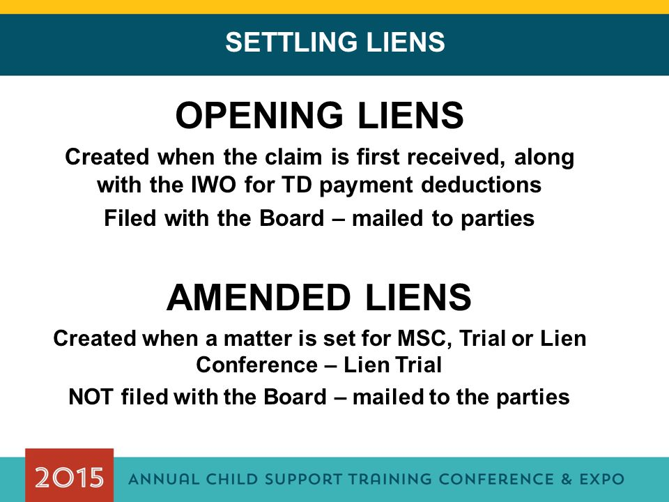 OPENING LIENS AMENDED LIENS