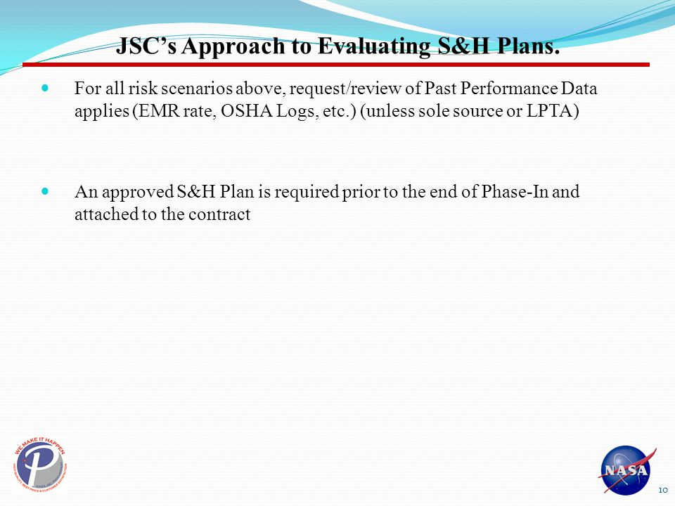 JSC's Approach to Evaluating S&H Plans.