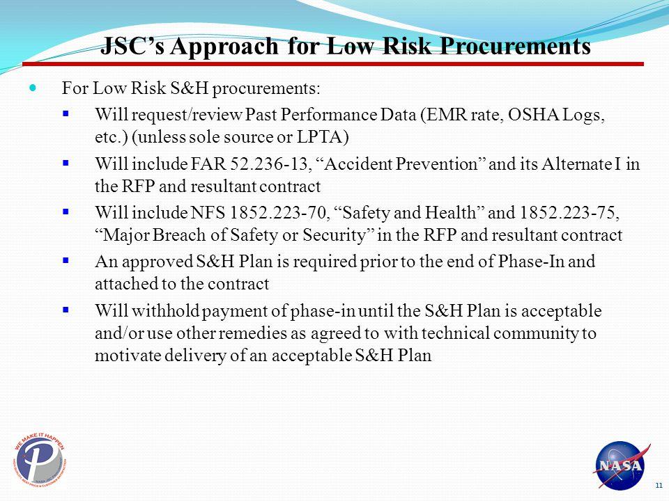 JSC's Approach for Low Risk Procurements