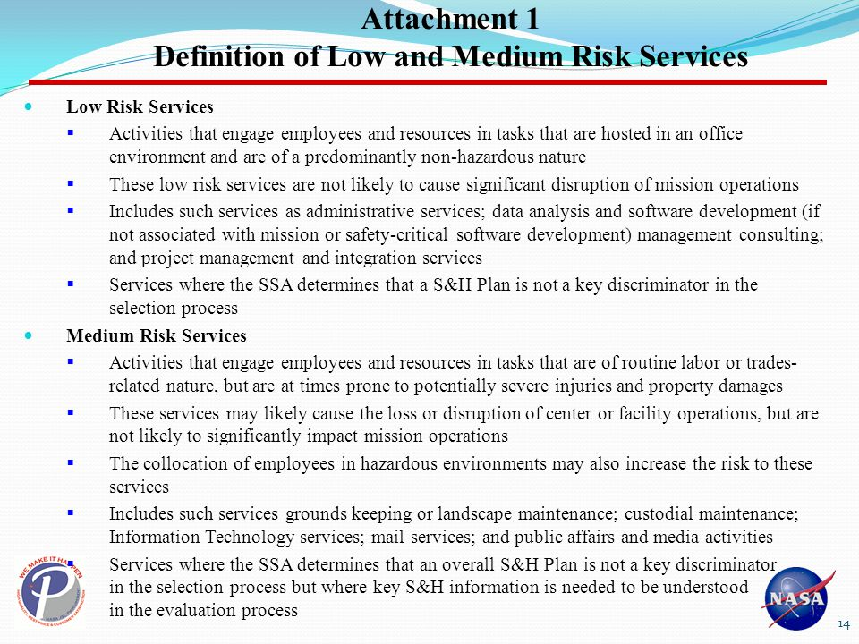 Attachment 1 Definition of Low and Medium Risk Services