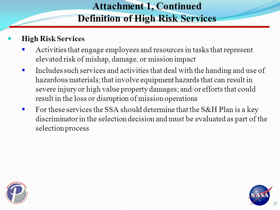Attachment 1, Continued Definition of High Risk Services