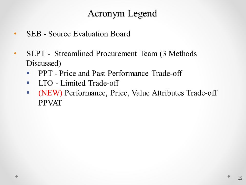 Acronym Legend SEB - Source Evaluation Board