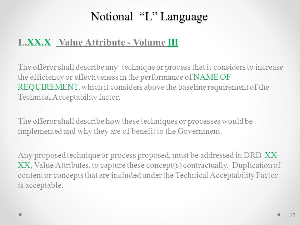 Notional L Language L.XX.X Value Attribute - Volume III