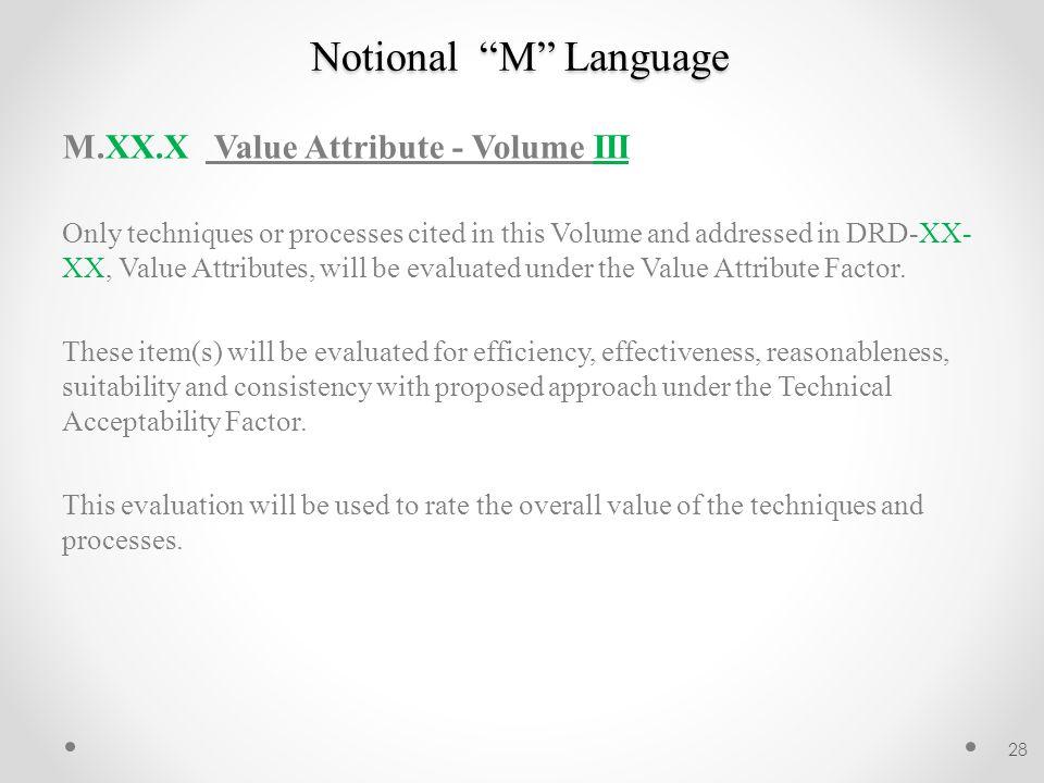 Notional M Language M.XX.X Value Attribute - Volume III