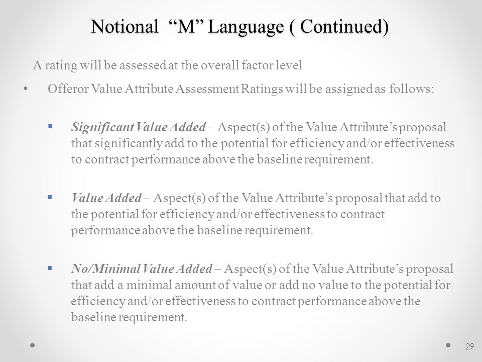 Notional M Language ( Continued)