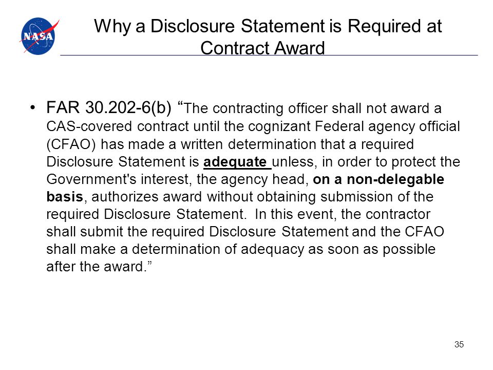 Why a Disclosure Statement is Required at Contract Award